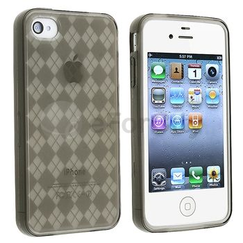 Clear Smoke Argyle TPU Rubber Skin Soft Gel Case Cover for iPhone 4 G